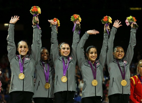 USA's gymnastics team win the gold medal at the 2012 Olympics