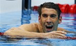 Michael Phelps of the U.S. reacts after winning his men's 200m butterfly semi-final at the London 2012 Olympic Games at the Aquatics Centre July 30, 2012.