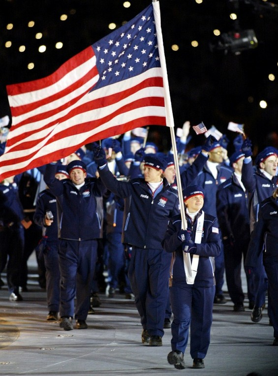 Team USA walks in the Olympic Opening Ceremony at the 2002 Winter Games