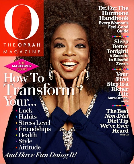 "Oprah on the September Makeover Issue of ""O"" magazine in 2012. The mogul posed with her natural hair for the first time ever."