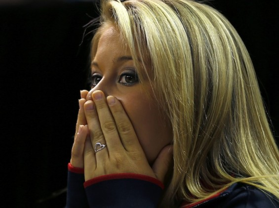 Retired U.S. Olympic gymnast Shawn Johnson reacts as the U.S. women&#039;s Olympic team is announced at the U.S. Olympic gymnastics trials in San Jose
