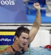 U.S. swimmer Nathan Adrian, pictured above, reacts to winning the Men's 50m Freestyle