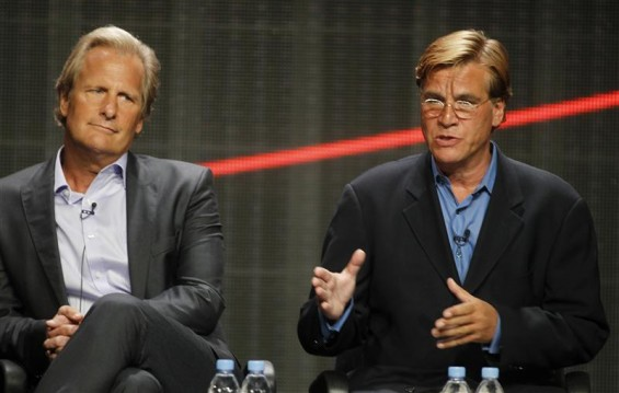 "Actor Jeff Daniels star of ""The Newsroom"" and creator and executive producer Aaron Sorkin (R) speak during the HBO presentation at the Cable portion of the Television Critics Association Summer press"