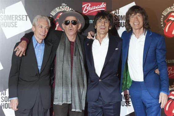 "The Rolling Stones (L-R) Charlie Watts, Keith Richards, Ronnie Wood and Mick Jagger pose as they arrive for the opening of the exhibition ""Rolling Stones: 50"" at Somerset House in London July 12, 2012"