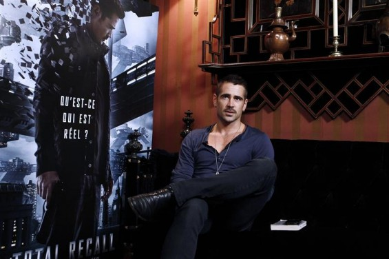 Irish actor Colin Farrell poses during a photocall as part of the presentation of the film &#034;Total Recall&#034; in Paris July 9, 2012.