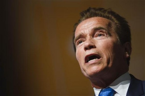 Former California Governor Arnold Schwarzenegger attends the Road to Rio meeting ahead of the UN Conference on Sustainable Development at the CICG in Geneva March 7, 2012.