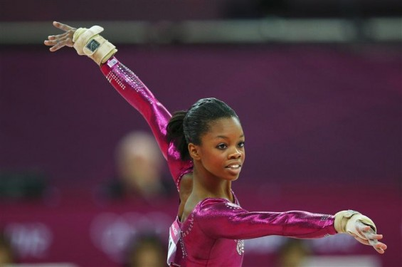 Gabrielle Douglas of the U.S. performs her floor exercise during the women's individual all-around gymnastics final in the North Greenwich Arena at the London 2012 Olympic Games August 2, 2012.