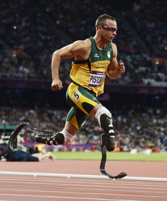 Double-amputee Oscar Pistorius competes in the Olympic Games semifinals for the men's 400-meter sprint