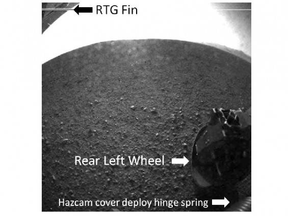 This is a labeled version of one of the first images taken by a rear Hazard-Avoidance camera on NASA's Curiosity rover, which landed on Mars the evening of Aug. 5 PDT (morning of Aug. 6 EDT).
