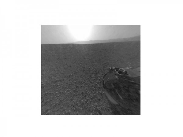 This is a version of one of the first images taken by a rear Hazard-Avoidance camera on NASA's Curiosity rover, which landed on Mars the evening of Aug. 5 PDT (morning of Aug. 6 EDT).