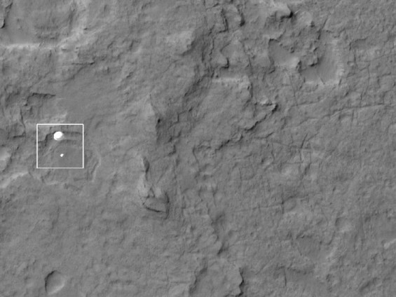 NASA's Curiosity rover and its parachute seen from space as it descended to the surface on Mars.