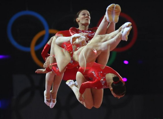 Katherine Driscoll of Britain competes in women&#039;s gymnastics trampoline qualification in the North Greenwich Arena during the London 2012 Olympic Games August 4, 2012. 