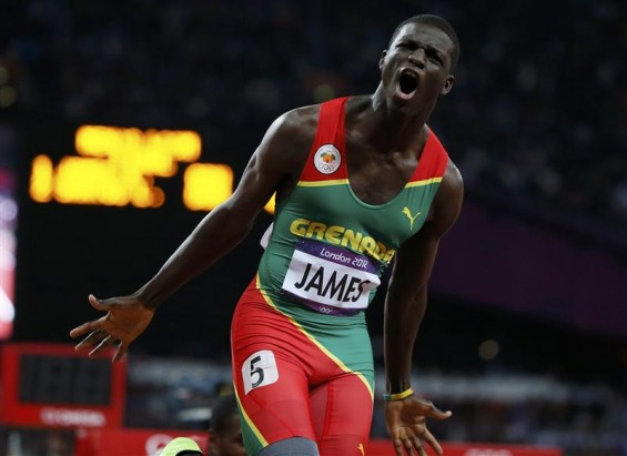 Grenada&#039;s Kirani James celebrates after winning the men&#039;s 400m final at the London 2012 Olympic Games at the Olympic Stadium August 6, 2012. 