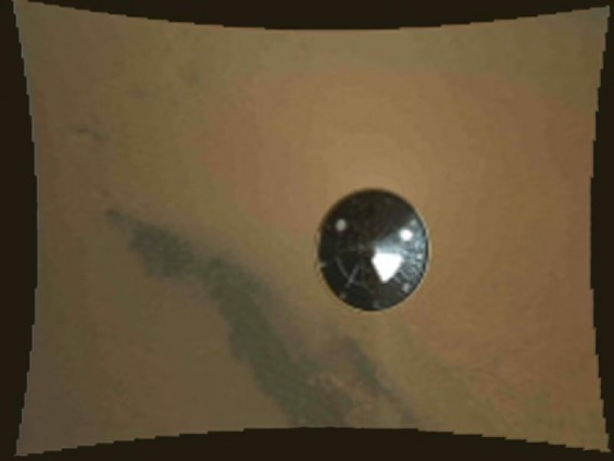 This color thumbnail image was obtained by NASA&#039;s Curiosity rover during its descent to the surface of Mars on Aug. 5 PDT (Aug. 6 EDT). The image was obtained by the Mars Descent Imager instrument kno