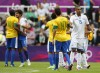 Brazil's Oscar shakes hands with Honduras Hernandez after Brazil defeated Honduras in their men's quarter final soccer match against Brazil at the London 2012 Olympic Games at St James' Park in Glasco