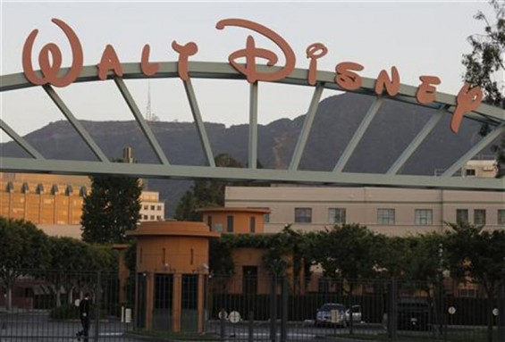 A portion of the signage at the main gate of The Walt Disney Co. is pictured in Burbank, California May 7, 2012.