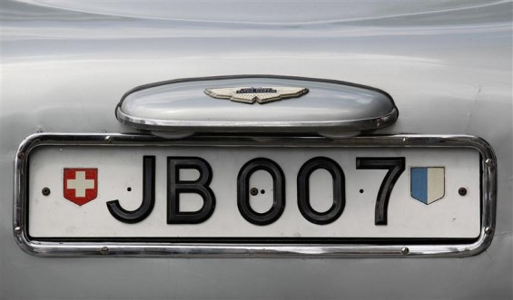 "The rotating number plate on the original Aston Martin DB5, driven by actor Sean Connery in the James Bond films ""Goldfinger"" and ""Thunderball"" is displayed in London July 21, 2010."