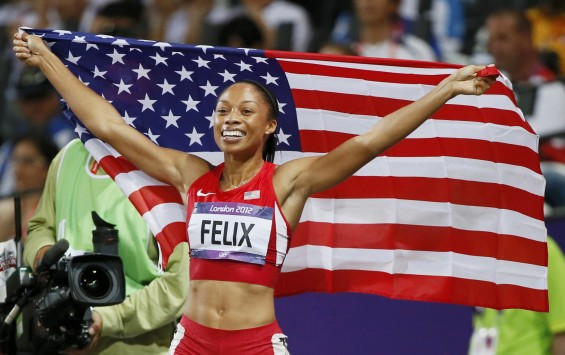 Allyson Felix of the U.S. celebrates after she won gold in the women's 200m final during the London 2012 Olympic Games at the Olympic Stadium August 8, 2012.