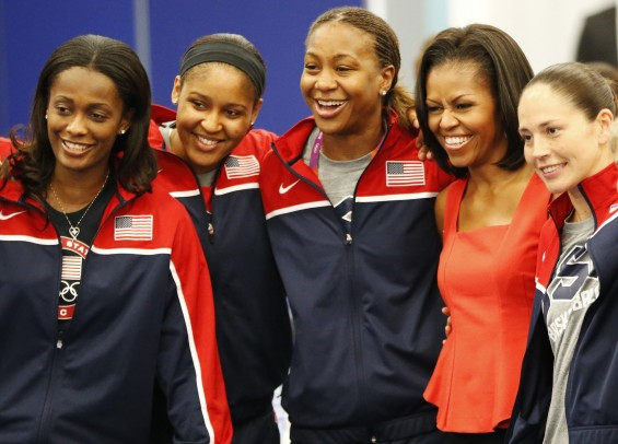 Team USA Women&#039;s Basketball Members Pose With Michelle Obama