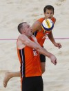 Team Netherlands take the bronze at the 2012 men's beach volleyball finals
