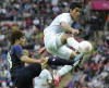 Japan's puts up a fight for the medal at the men's soccer match at the Olympic Wembley Stadium