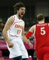 Spain secures a spot in the men's basketball finals at the London Olympics after beating Russia 67-59