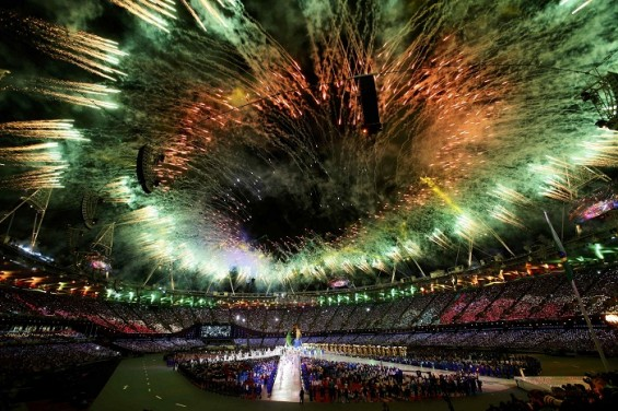 Fireworks at the Olympic Stadium during the closing ceremony of the London 2012 Olympic Games August 12, 2012.