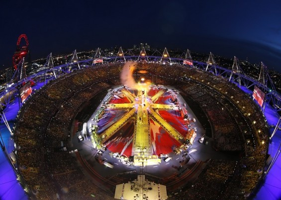 An overview of the Olympic Stadium during the closing ceremony of the London 2012 Olympic Games August 12, 2012.