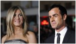 """A combination picture shows cast members Jennifer Aniston (L) and Justin Theroux (R) posing at the premiere of """"Wanderlust"""" at the Mann Village theatre in Los Angeles February 16, 2012."""