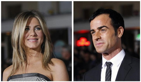 "A combination picture shows cast members Jennifer Aniston (L) and Justin Theroux (R) posing at the premiere of ""Wanderlust"" at the Mann Village theatre in Los Angeles February 16, 2012."