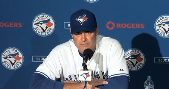 Blue Jays manager John Farrell speaks about fan death at a news conference after the game on Thursday August 16.