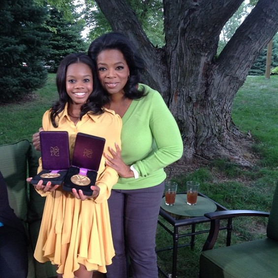Oprah Winfrey and Gabby Douglas pose in this photo the talk show host tweeted during their interview.