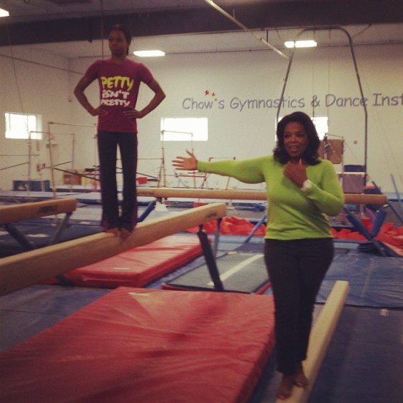 Oprah tweeted this photo of Douglas inside the Iowa gym where she trained for the London Games.