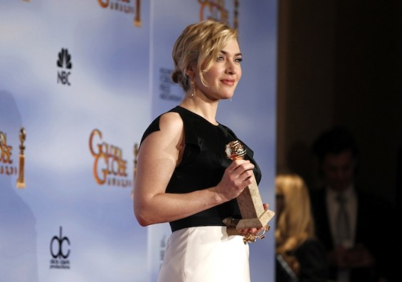Kate Winslet poses with her award for best performance by an actress in a mini-series or motion picture made for television in Beverly Hills