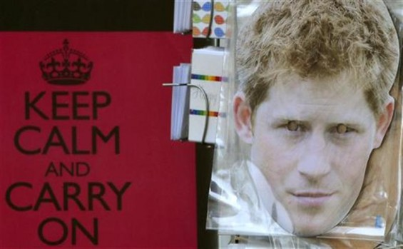 A souvenir shop displays a facemask of Britain&#039;s Prince Harry in London August 24, 2012
