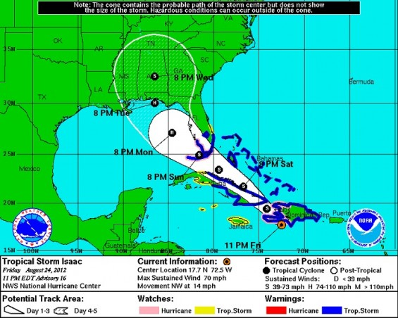 Tropical Storm Isaac's path on Friday August 24,2012 according to the National Hurricane Center.
