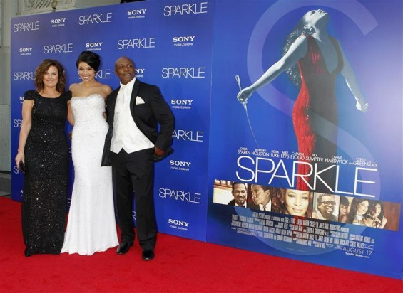 "Cast member Jordin Sparks (C) poses with her mother Jodi Weidmann Sparks (L) and father Phillippi Sparks at the premiere of ""Sparkle"" in Hollywood, California August 16, 2012."