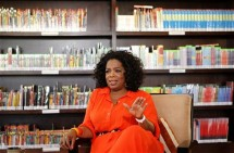Talk show queen Oprah Winfrey gestures during an interview with Reuters at her Oprah Winfrey Leadership Academy for Girls in Henley-on-Klip, outside Johannesburg January 12, 2012.