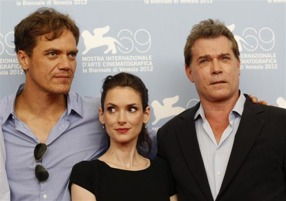U.S. actors Ray Liotta (R) Winona Ryder (C) and Michael Shannon pose during the photocall for the movie &#034;Iceman&#034; at the 69th Venice Film Festival August 30, 2012. 