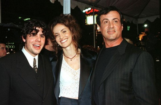 Sage Stallone, (L) appears at the premier for &#034;Daylight&#034; with Amy Brenneman and his father Sylvester Stallone (R) in Los Angeles in this December 5, 1996 file photo. Sage Stallone was found dead July 