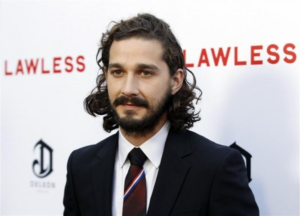 """Cast member Shia LaBeouf poses at the premiere of the film """"Lawless"""" in Los Angeles August 22, 2012."""