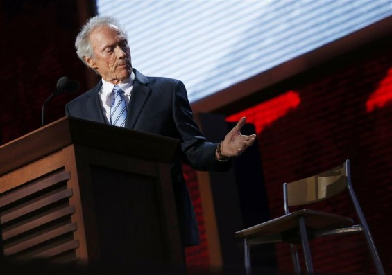 Actor Clint Eastwood addresses an empty chair and questions it as if it is U.S. President Obama, as he endorses Republican presidential nominee Mitt Romney during the final session of the Republican N