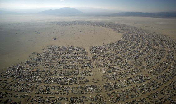 An aerial view shows the Burning Man 2012 &#034;Fertility 2.0&#034; arts and music festival in the Black Rock Desert of Nevada August 30, 2012. More than 60,000 people from all over the world have gathered at t