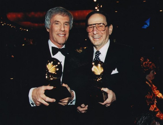 Lyricist Hal David (R) and composer Burt Bacharach pose after receiving the Grammy Trustee Award in 1997, in this undated handout photo.