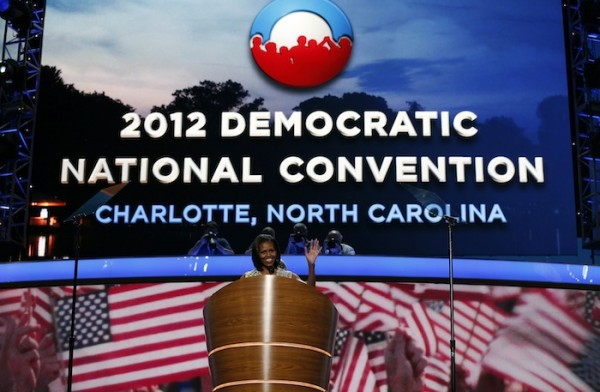 U.S. first lady Obama tours the stage and podium at the Democratic National Convention in Charlotte