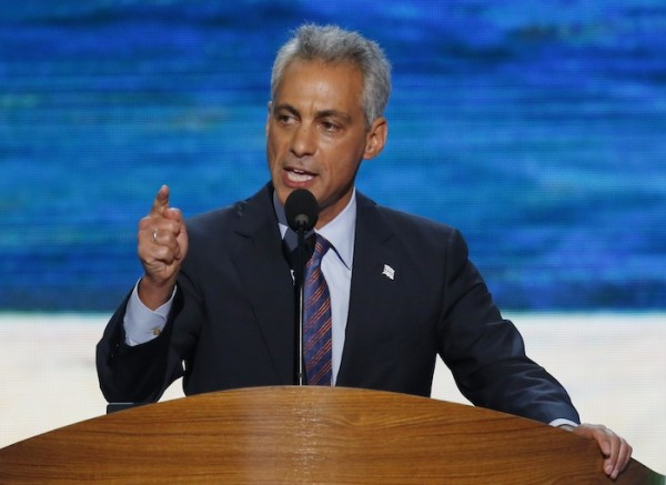 Chicago Mayor Rahm Emanuel addresses delegates during the first session of the Democratic National Convention in Charlotte