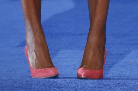 U.S. first lady Michelle Obama Shoes Detail.