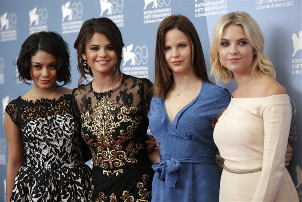 "U.S. actresses Vanessa Hudgens (L to R), Selena Gomez, Rachel Korine and Ashley Benson pose for the photocall of the movie ""Spring breakers"" during the 69th Venice Film Festival in Venice September 5,"