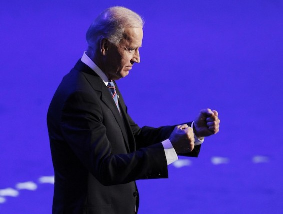 U.S. Vice President Biden gestures before addressing delegates during the final session of the Democratic National Convention in Charlotte