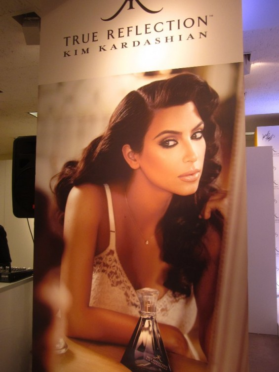 A poster for Kim Kardashian&#039;s new fragrance True Reflection